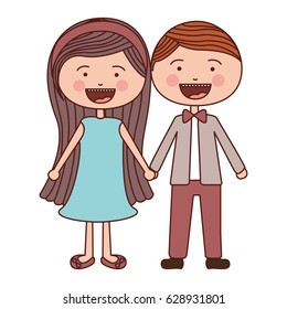 color silhouette smile expression cartoon couple in suit formal with taken hands vector illustration