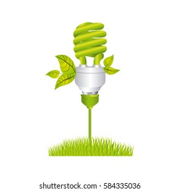 color silhouette with spiral fluorescent lamp with leaves and grass vector illustration