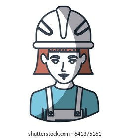 color silhouette and thick contour of half body of female worker with helmet vector illustration