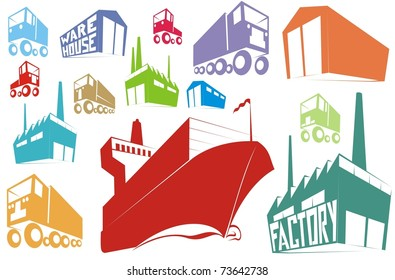 Color silhouettes or stamp images of logistics, supply chain items (warehouse, factory, container ship, truck, van) - cartoon vector outline / silhouette illustration set