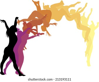 Color silhouettes of a woman gymnast executing a back flip.