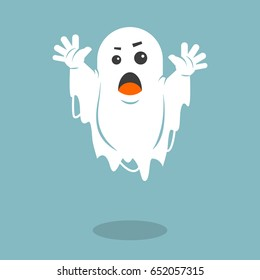 Color simple flat art vector illustration of a frightening ghost