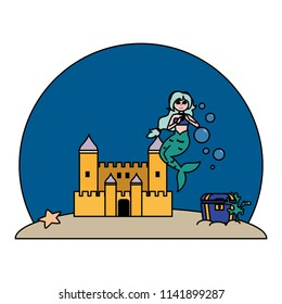 color siren woman under water with castle and coffer