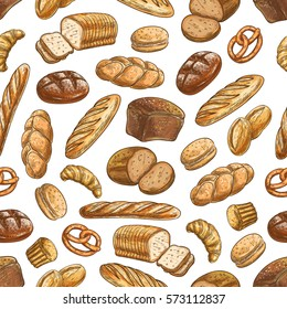 Color sketch bread sorts seamless pattern. Vector pattern of wheat and rye bread on white background. Bakery and patisserie design with bread, croissant, baguette, muffin, bun, loaf, pretzel, bagel