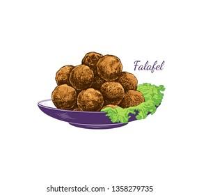 Color sketch of falafel. Falafel with a leaf of lettuce on a plate. Vector illustration of Middle Eastern cuisine.