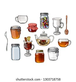 Color sketch of food. A jar of honey, bun, pastries. Teapot and a mug painted lines on a white background. Vector sketch of dishes. Glass teapot, tea bag, green tea