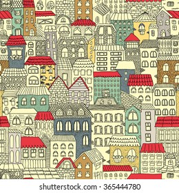 Color sketch of the panorama of the city. Vintage cute houses. Drawing by hand. Vector illustration. Seamless pattern.