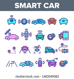 Color Smart Car Elements Icons Set Vector Thin Line. Intelligence Control And Security, Network Navigation And Autopilot Smart Car Devices Linear Pictograms. Illustrations