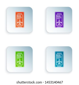 Color Smartphone with electronic boarding pass airline ticket icon on white background. Passenger plane mobile ticket for web and app. Set icons in colorful square buttons. Vector Illustration