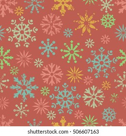 Color snowflakes seamless pattern.  All objects are conveniently grouped  and are easily editable.