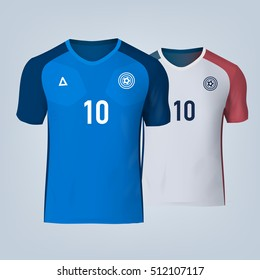 Color soccer T-shirts of France. Football team equipment