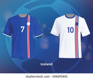Color soccer T-shirts of Iceland. Football team equipment