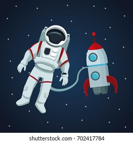 color space landscape background with astronaut and rocket