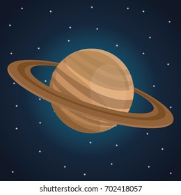 color space landscape background with view saturn planet
