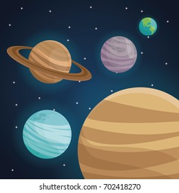 color space landscape background with view planets in solar system