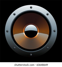 A color speaker with a black background behind.