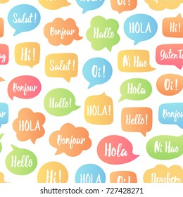 Color Speech bubbles seamless pattern. Vector background of bubbles with word hello in different languages: hi, hallo, hola etc. Communication people concept. Vector illustration for language center