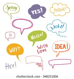 Color speech bubbles set with short messages. Vector illustration