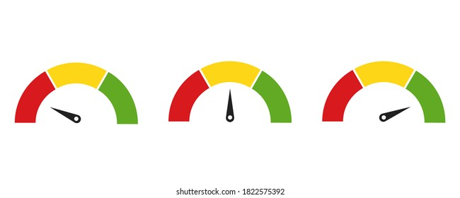 Color speedometer icons. Set of colorful speedometers. Vector illustration on white background . Flat collection of  tachometers. 10 eps