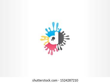 color splash illustration with letter d shape design