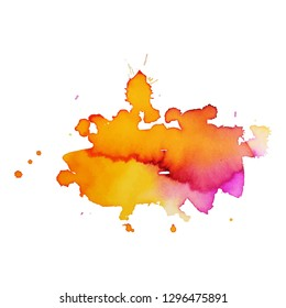 Color splash on white background. Abstract watercolor background.