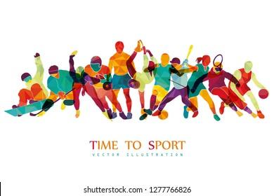 Color sport background. Football, basketball, hockey, box, golf, tennis, fitness, snowboard. Vector illustration