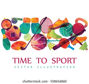 Arrière-plan sport couleur. Football, basket, hockey, box, golf, tennis. Illustration vectorielle