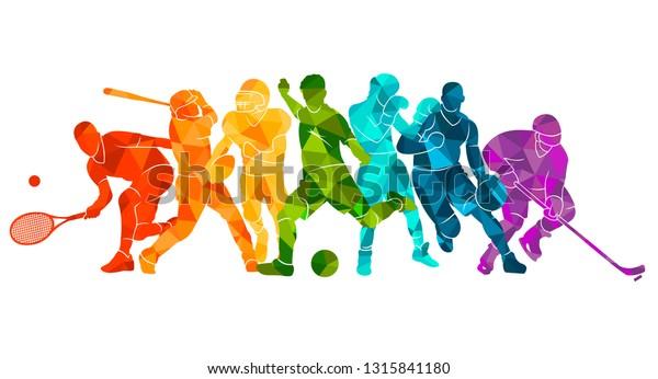 Цвет спортивного фона. Футбол, баскетбол, хоккей, коробка,  бейсбол, теннис. Векторная иллюстрация красочные силуэты спортсменов