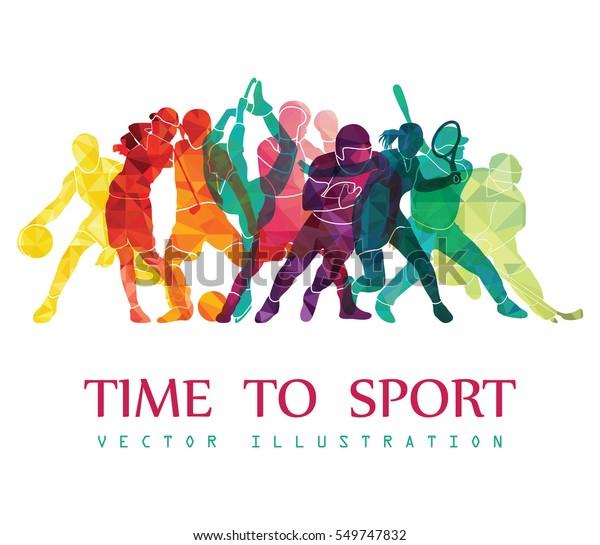 Цвет спортивного фона. Футбол, баскетбол, хоккей, бокс, гольф, теннис. Векторная иллюстрация