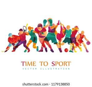 Color sport background. Football, soccer, basketball, hockey, box, golf, tennis. Vector illustration