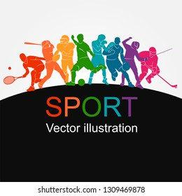 Color sport background. Football, soccer, basketball, hockey, box, tennis, baseball. Vector illustration colorful people silhouettes