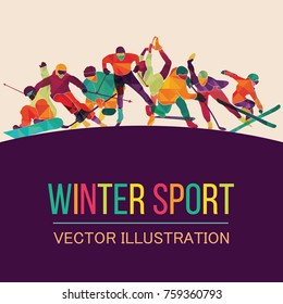 Color sport background. Hockey, biathlon, snowboarding, skating, ice skiing, Figure, freestyle. Vector illustration