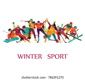 Color sport background. Winter olympic games. Hockey, biathlon, snowboarding, skating, ice skiing, Figure, freestyle. Vector illustration