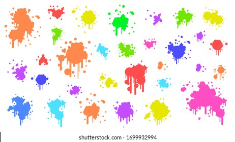 Color Spray Different Set Paint Blot Element Vector Object Brush
