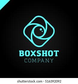 Color Square Camera Shutter Logo. Box Photo Camera Logotype