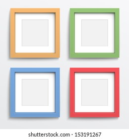 Color square frame set on gray wall with realistic shadows. Vector illustration. EPS10.