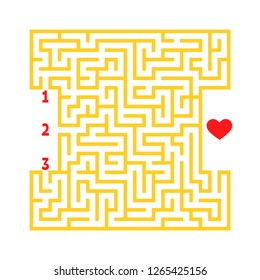 Color square maze. Game for kids. Puzzle for children. Find the right path to the heart. Labyrinth conundrum. Flat vector illustration isolated on white background