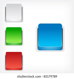 Color squares buttons isolated on white background.