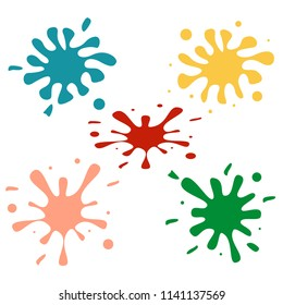 Color Stain icon set. Colorfull blots set. Splash of blood. Vector.