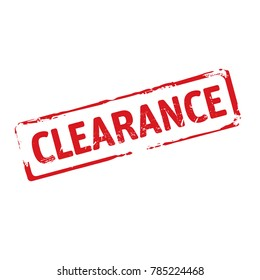 Color stamp and text Clearance. Vector Illustration.