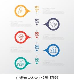 Color Step Design clean number timeline template/graphic or website