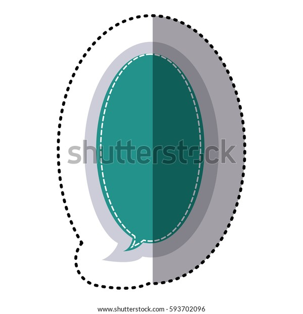 color sticker large oval frame callout dialogue vector illustration