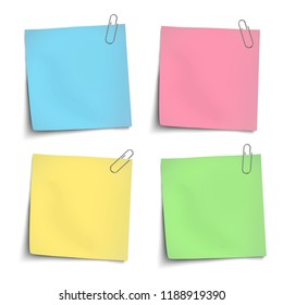 Color sticky notes attached by metallic paper clips isolated. Vector paper mock up.