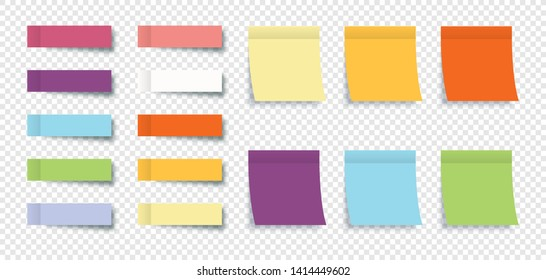 Color Sticky Notes with Post Note Stickers isolated on transparent background. Eps10