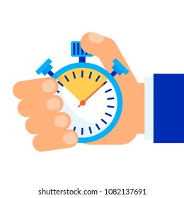 Color stopwatch in hand. Control and time management, the result of the athlete in the competition. A symbol of accuracy and punctuality. Flat vector cartoon object isolated on white background.