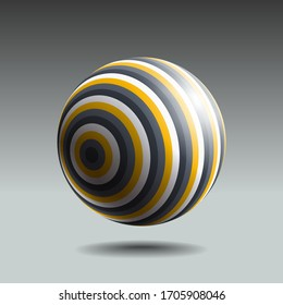Color striped sphere with realistic light and shadow. Abstract 3D vector object.