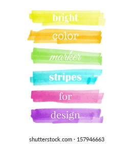 Color stripes drawn with markers. Stylish elements for design. Vector