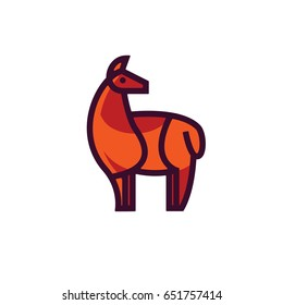 Color stylized drawing of standing cute red llama - for icon or sign template