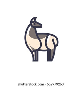 Color stylized drawing of standing cute beige alpaca