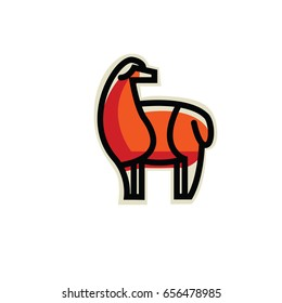 Color stylized drawing of standing cute alpaca - for icon or sign template
